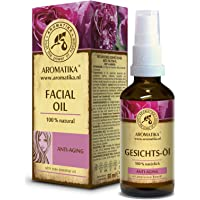 Face Oil 50ml - 100% Pure & Natural - w/Grapeseed - Jojoba - Rose - Sandalwood Essential Oils - for Day Care - Skin…