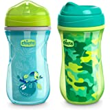 Chicco 00007082300070 Insulated Rim Spout Trainer Spill Free Baby Sippy Cup, 12 Months+, Teal/Green, 9 Ounce (Pack of 2)