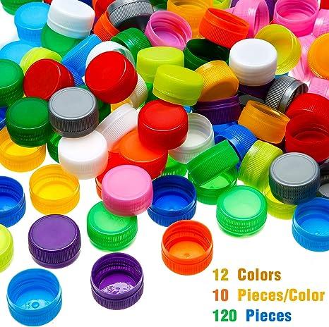 120 tapas de plástico para botella de protección, botella para manualidades para niños, manualidades, álbumes de recortes (12 colores): Amazon.es: Juguetes y juegos