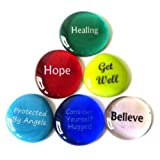 Get Well Glass Stones, 6 Messages To Bring Comfort and Hope For a Fast Recovery. By Lifeforce Glass.