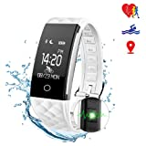 Smart Fitness Tracker Watch - SMBOX S2 (2018 New Design) IPX67 Waterproof Activity Tracker, Step Calories Counters, Sleep Tracker, Bike-riding Mode, GPS Route Tracking, Call / SMS Reminder, Heart Rate Monitor Fitness Trackers For Women Men Kids (White&Red)