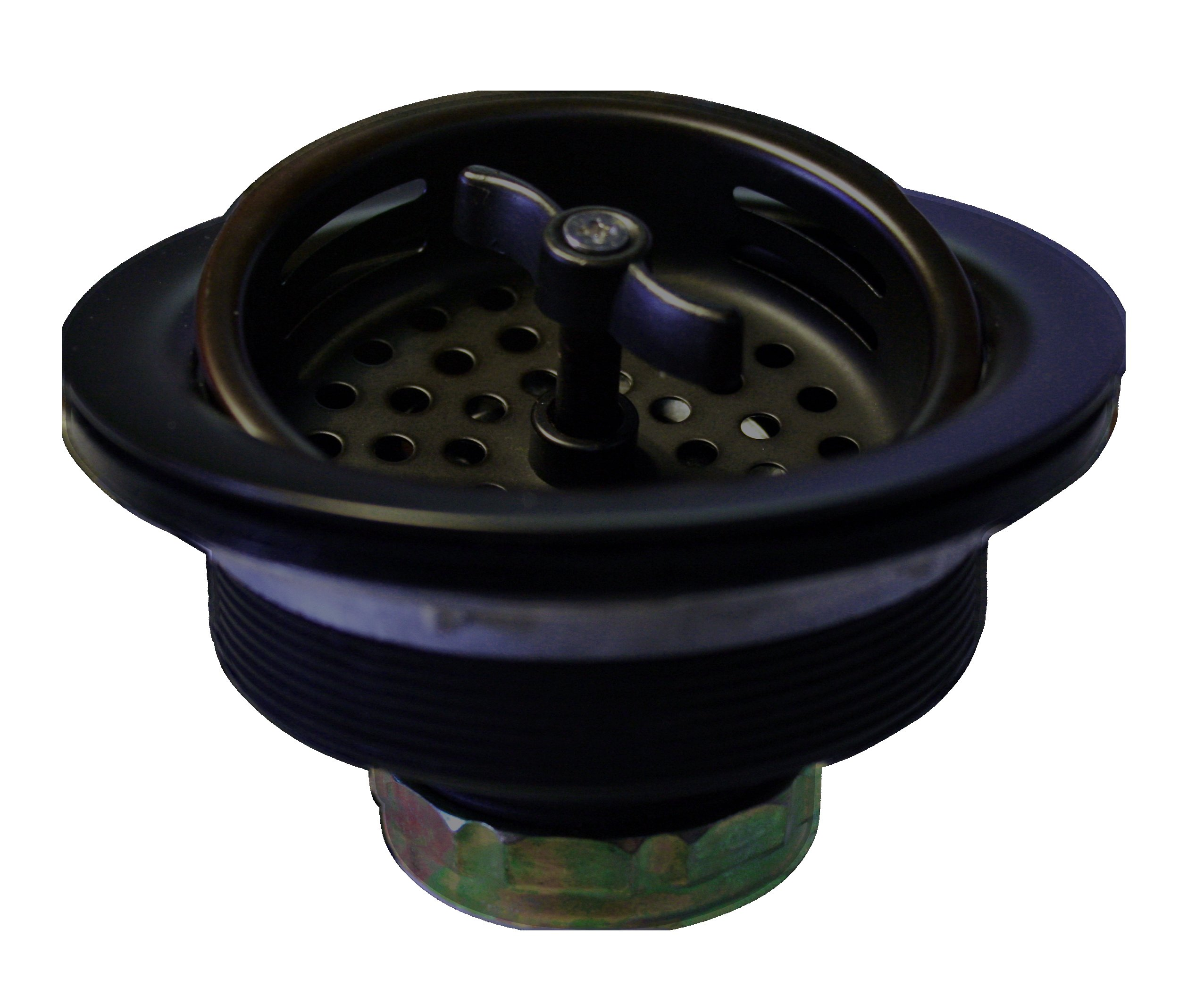 Westbrass Wing Nut Style Large Kitchen Sink Basket Strainer, Matte Black, D213-62