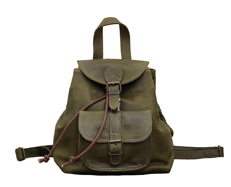 LE BAROUDEUR Vert Olive petit sac à dos en cuir couleur style vintage PAUL MARIUS