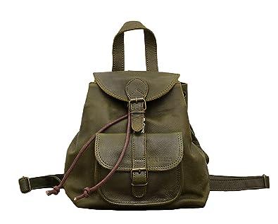 LE BAROUDEUR Vert Olive petit sac à dos en cuir couleur style vintage PAUL MARIUS 2p5px9A2K