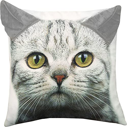 Gifts of Nature Grey Tabby Kitty Cat Printed Throw Pillow with 3D Ears 18 X 18