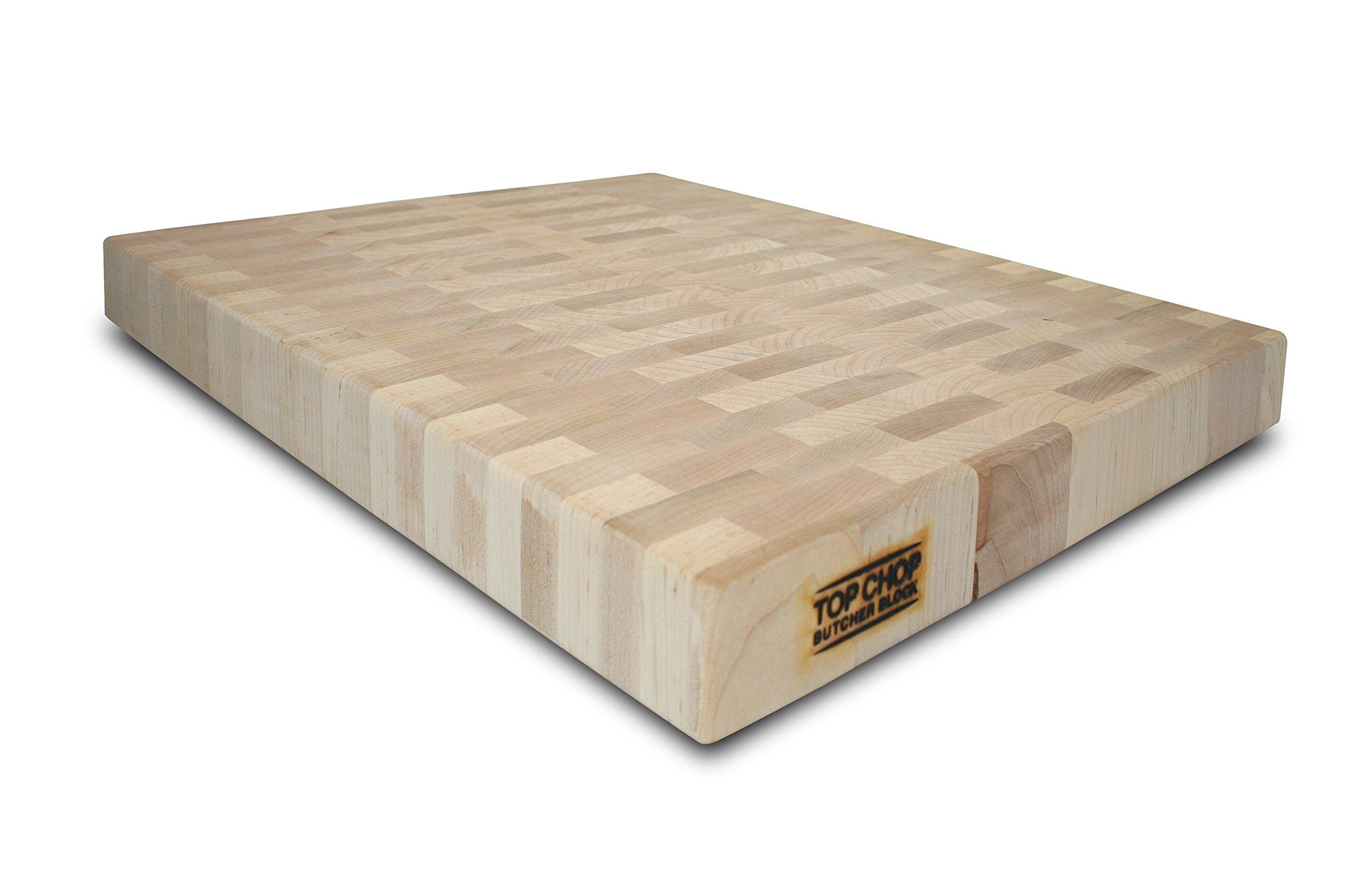 Top Chop Butcher Block Premium Reversible End Grain Cutting Board, Maple, 16'' x 18'' x 2''