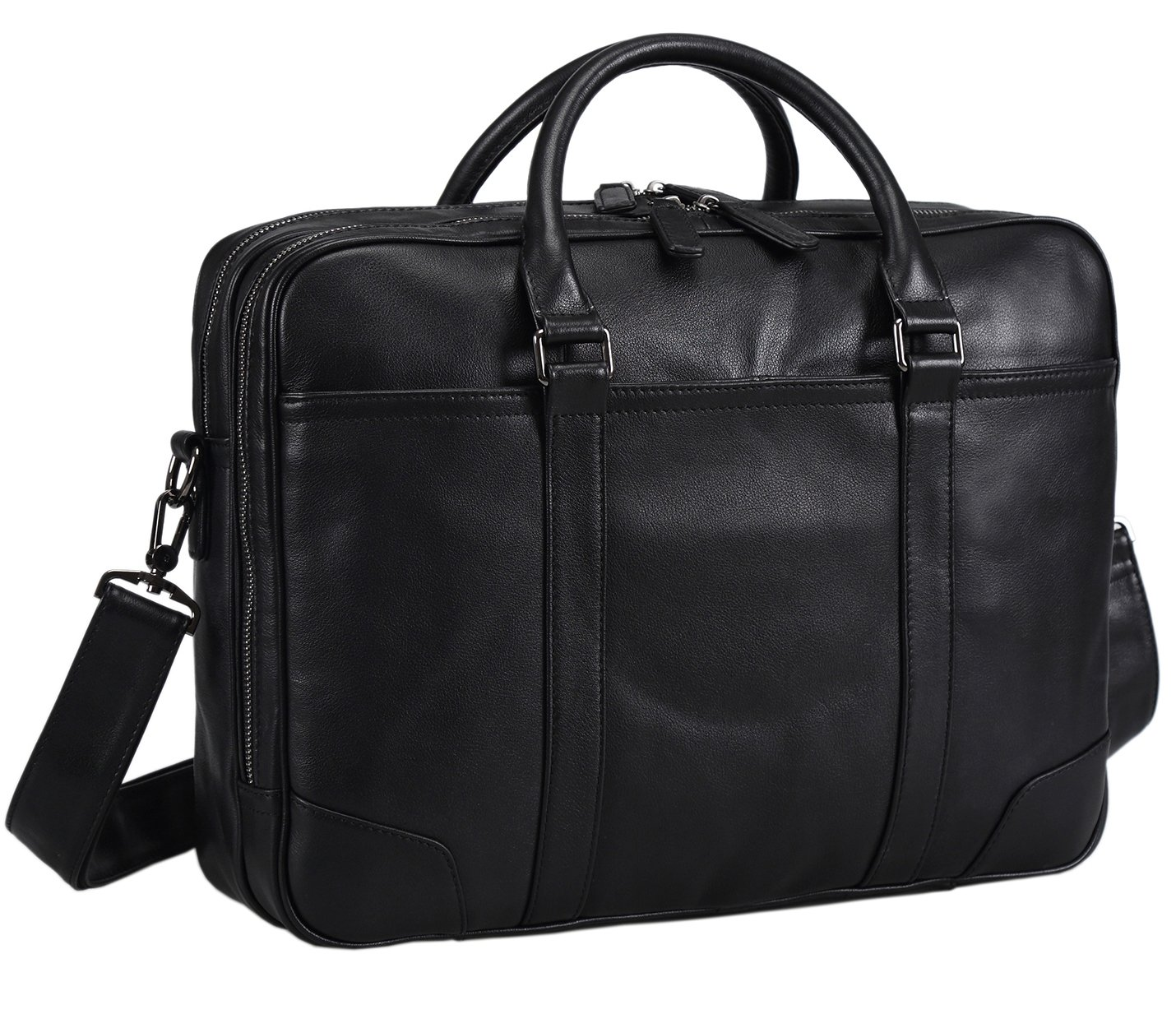 Polare Soft Real Leather Double zipper Laptop Computer 15'' Briefcase Business Bag by Polare (Image #1)