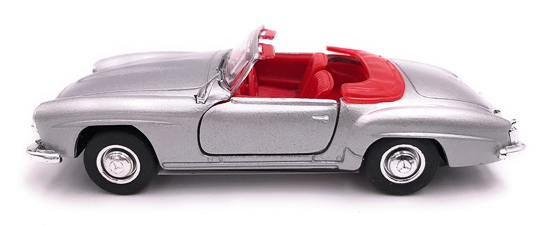 34-1 Welly Producto de Licencia de autom/óvil Modelo Mercedes Benz 190 SL 1 39 Plateado Abierto