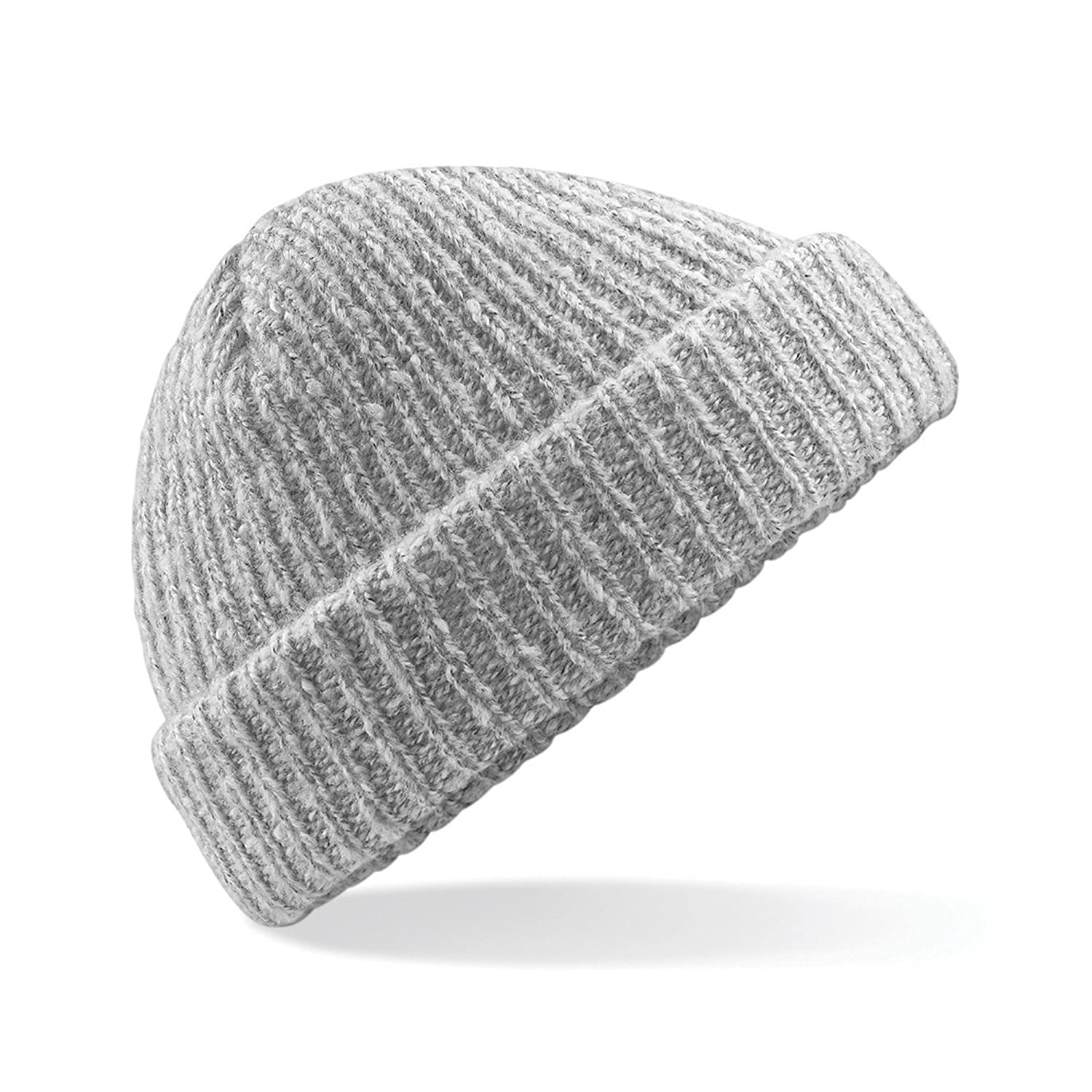 7cf95a7b301 Amazon.com  Beechfield Unisex Adults Glencoe Knitted Winter Beanie Hat (One  Size) (Black Fleck)  Clothing
