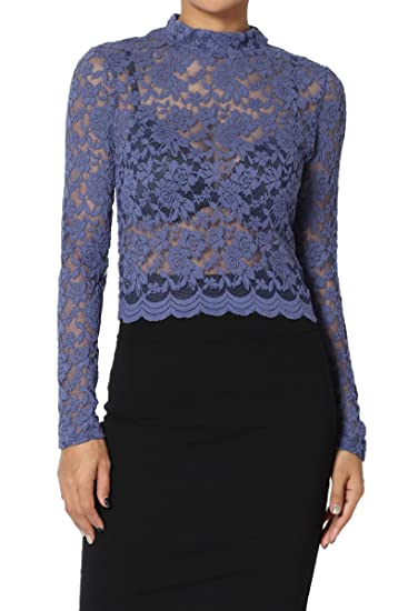 2bf22d1f14a TheMogan Junior's Lace Long Sleeve Mock Neck Crop Top Sheer Blouse Blue S