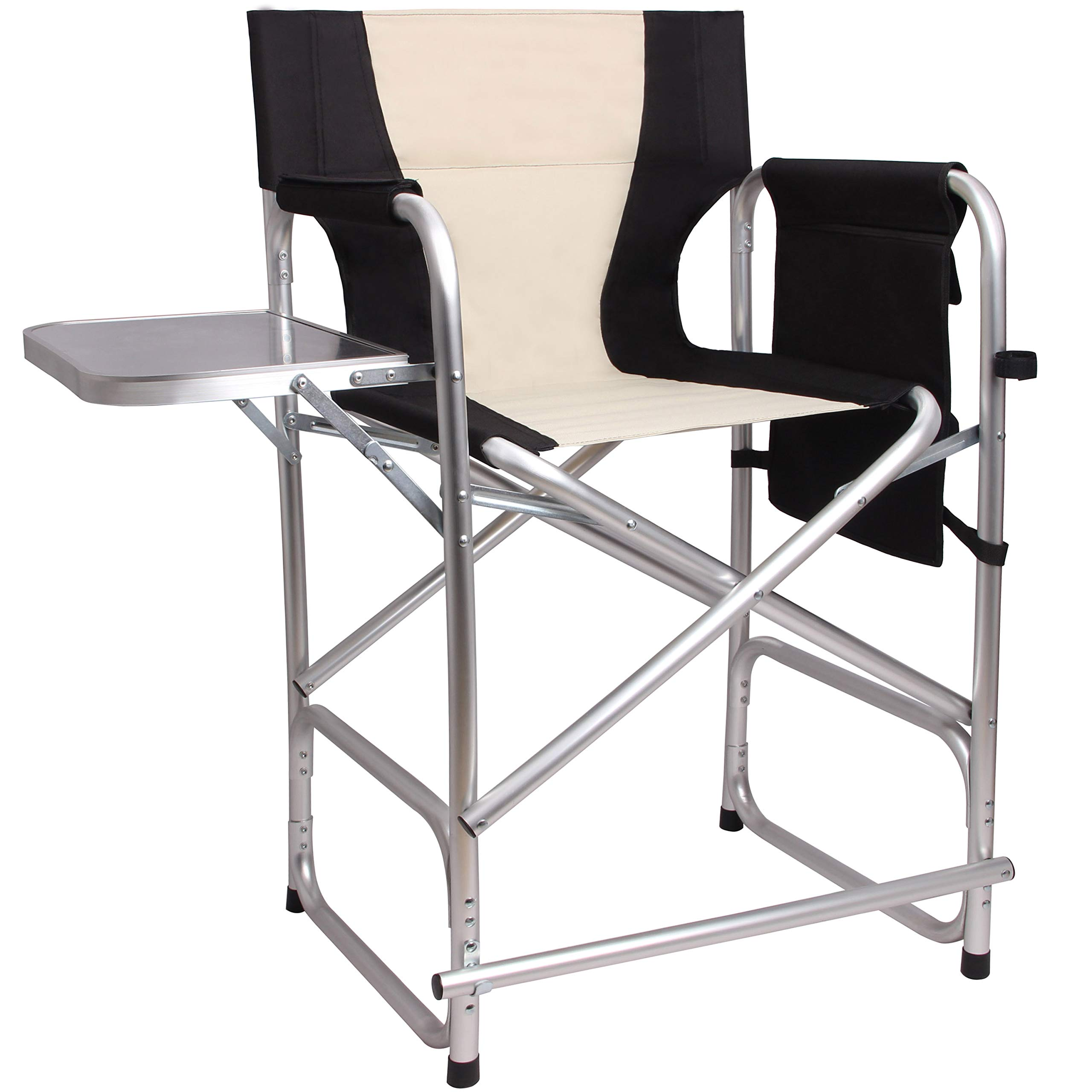 Foldable Directors Chair Portable Camping Chair - Lightweight Full Aluminum Frame Makeup Artist Chair Heavy Duty with Armrest Side Table Storage Bag Footrest 300 lbs Supports by AGOOL