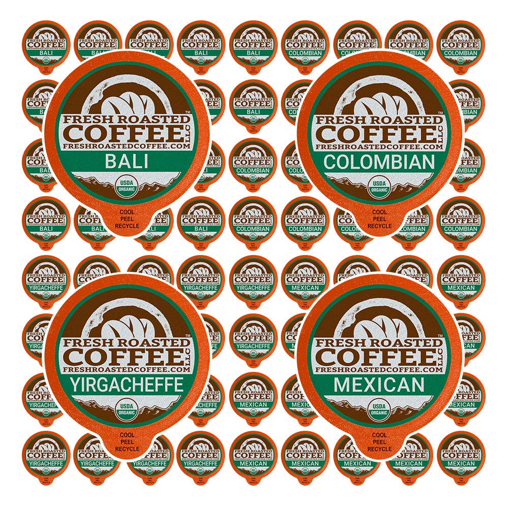 Fresh Roasted Coffee LLC, Organic Single-Origin Coffee Pod Variety Pack, 72 Count
