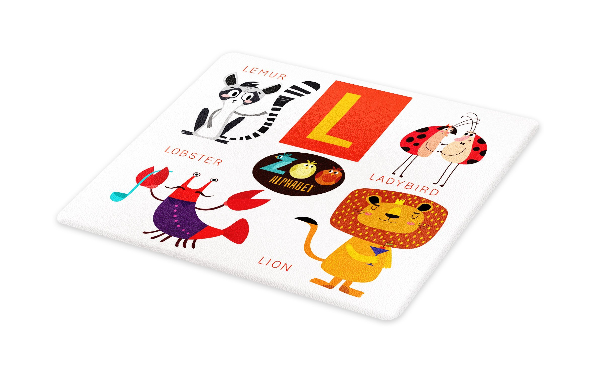 Lunarable ABC Kids Cutting Board, Zoo Alphabet in L Letter with Lobster Lion Ladybird Lemur Humor School My Name, Decorative Tempered Glass Cutting and Serving Board, Large Size, Multicolor