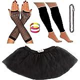 REDSTAR FANCY DRESS Neon Tutu Skirt Leg Warmers Fishnet Gloves Necklace Beads and Neon Wrist Beads