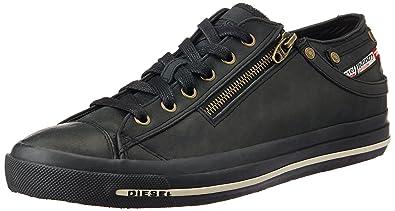 5efa220437854d DIESEL Schuhe Sneaker Herren Leder Magnete Expo Reißverschluss Low Major  Black