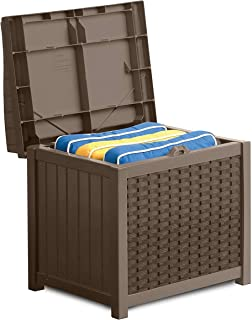 product image for Suncast 22-Gallon Small Deck Box - Lightweight Resin Indoor/Outdoor Storage Container and Seat for Patio Cushions, Gardening Tools and Toys - Store Items on Patio, Garage, Yard - Mocha Wicker