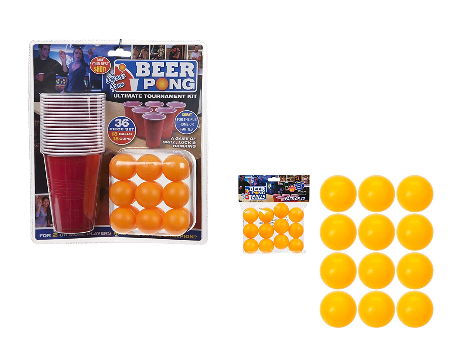 Whats that PMS 619028 36PC Beer Pong Set in Double Blister Card, Red WITH 12 Extra Balls v