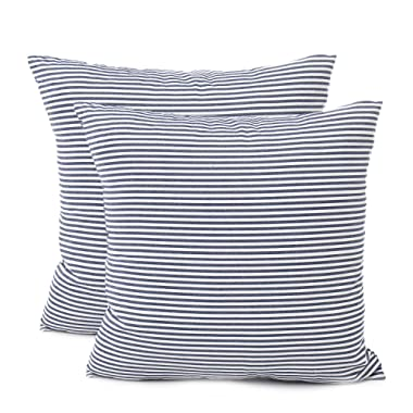 COMHO Pack of 2, Cotton Woven Striped Throw Pillow Covers Set, Decorative Cushion Covers, Square Farmhouse Pillowcases, for Sofa Bedroom Car Chair 18x18 Inch/45x45 cm (Navy Blue)