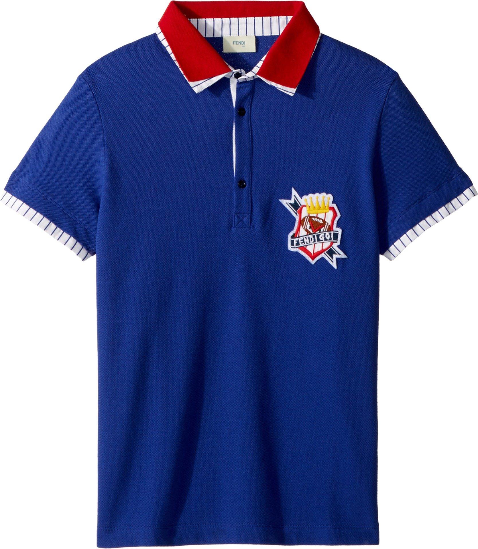 Fendi Kids Boy's Short Sleeve Polo T-Shirt w/Football Design on Front (Big Kids) Royal Blue 12 Years