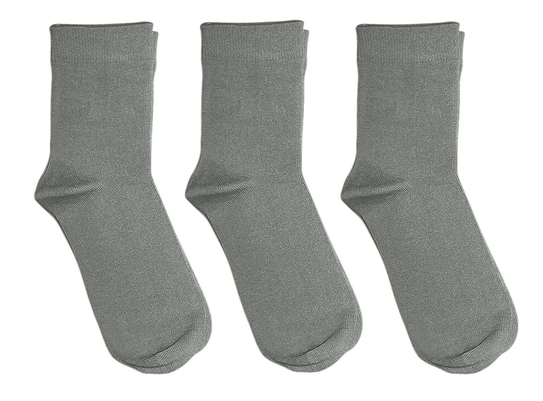 Rambutan Kids (3 Pack) Comfort Seam Plain Color Bamboo School Socks RY4-001