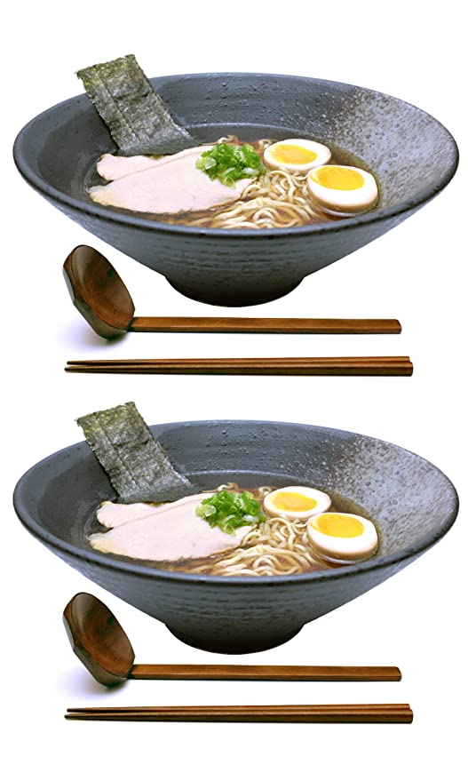 2 Sets (6 Piece) 57 Ounce Large Ceramic Japanese Ramen Noodle Soup Bowl  Dishware Set with Matching Spoon and Chopsticks for Udon Soba Pho Asian