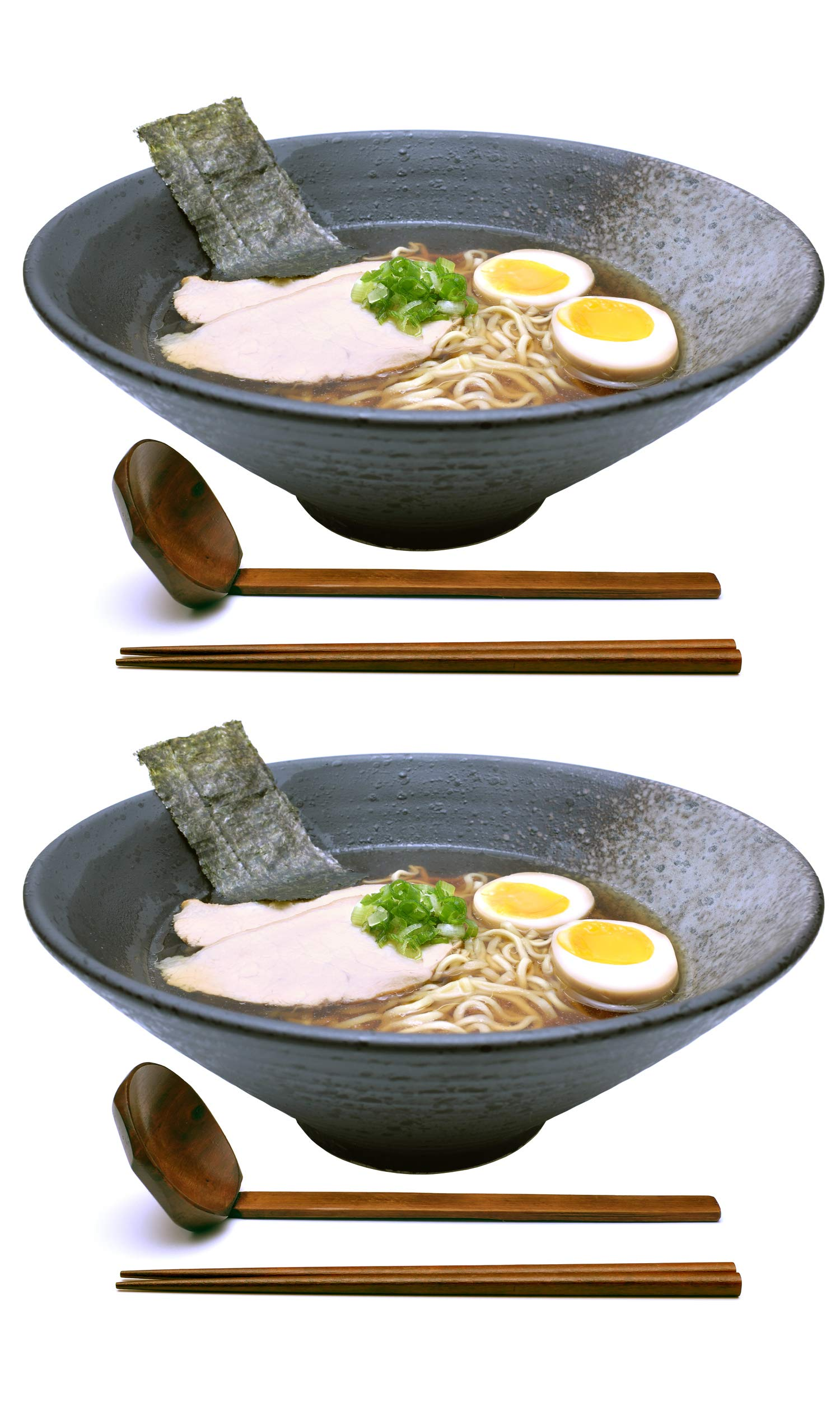 2 sets (6 piece) Large Japanese Ramen Noodle Soup Bowl Ceramic Dishware Set with Matching Spoon and Chopsticks for Udon Soba Pho Asian Noodles