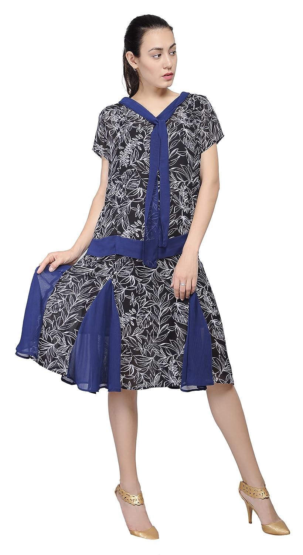 1920s Style Dresses, Flapper Dresses Marycrafts Woment Drop Waist 1920s Lined Floral Godet Dress $36.90 AT vintagedancer.com