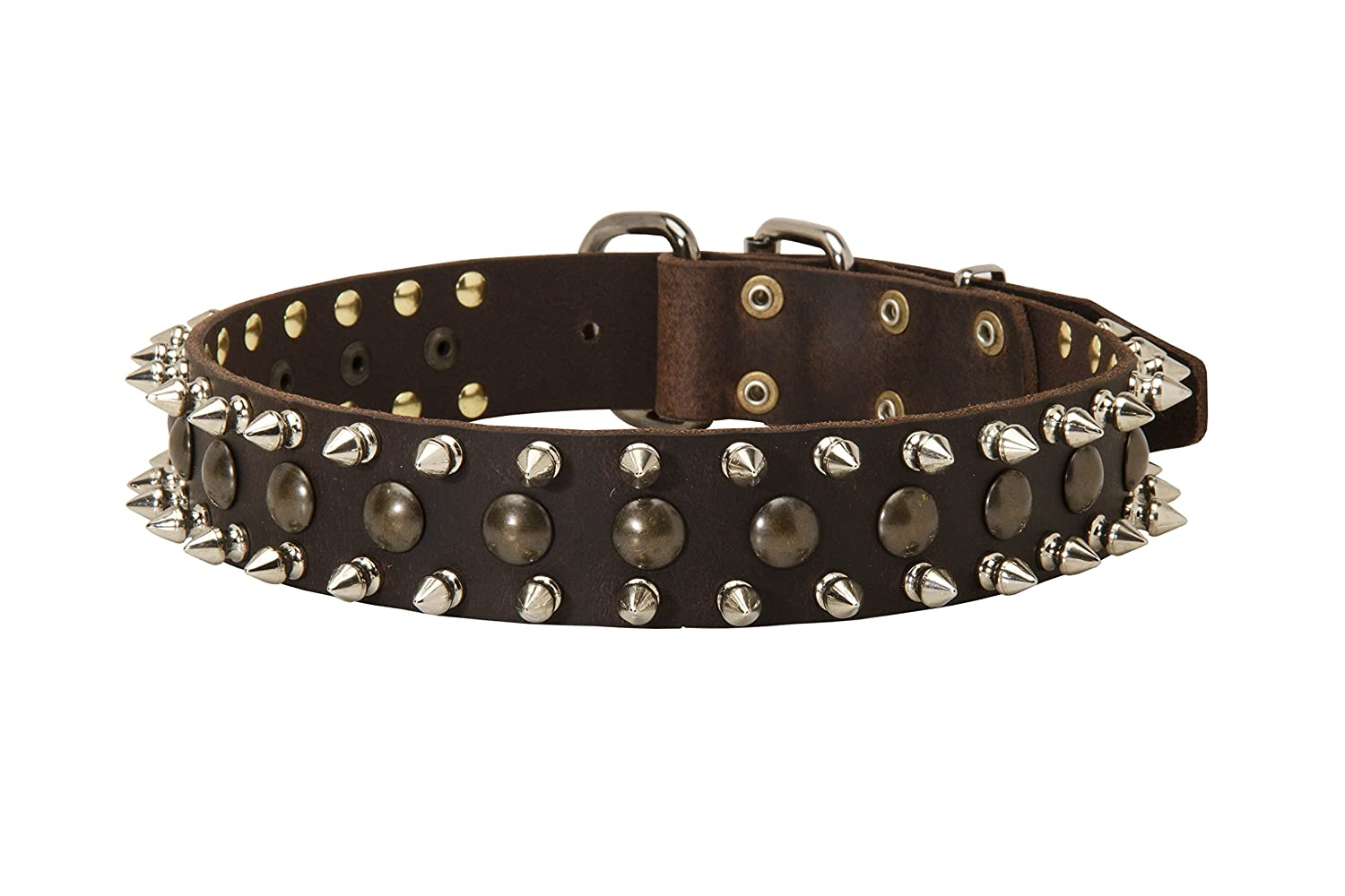 Black fits for 24 inch dog's neck size Black fits for 24 inch dog's neck size 24 inch Fashionable Spiked and Studded Black Leather Dog Collar  Thorn Kick  1 1 2 inch (40 mm) wide