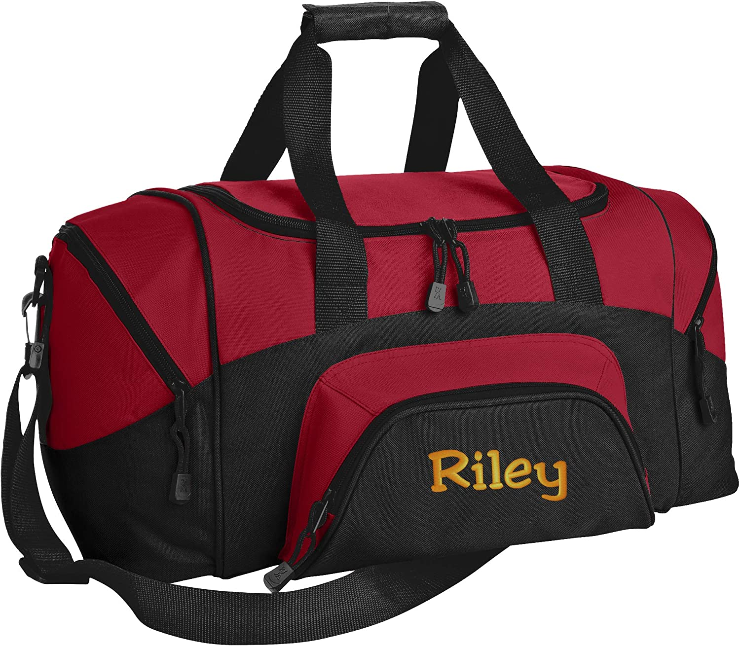 Personalized Monogrammed Small Gym Duffel Bag with Custom Text Sports Bag with Customizable Embroidered Monogram Design Black//Dark Charcoal