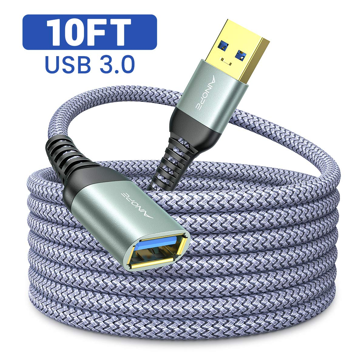 10FT USB 3.0 Extension Cable Type A Male to Female Extension Cord AINOPE Durable Braided Material High Data Transfer Compatible with USB Keyboard,Mouse,Flash Drive, Hard Drive,Printer