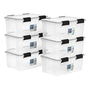 IRIS USA, Inc. UCB-SS WEATHERTIGHT Storage Box, 6 Pack, 19 Quart, Clear
