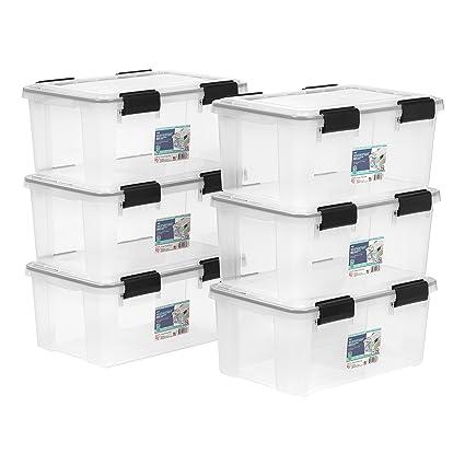 IRIS 19 Quart Weathertight Storage Box, 6 Pack, Clear
