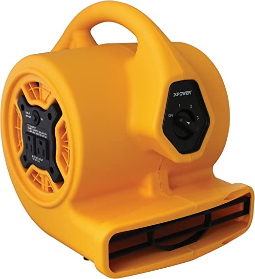 Amazon Com Xpower P 130a Mini Air Mover Floor Fan Dryer Utility Blower With Built In Dual Outlets For Daisy Chain 1 5 Hp 700 Cfm 3 Speeds Yellow Home Kitchen