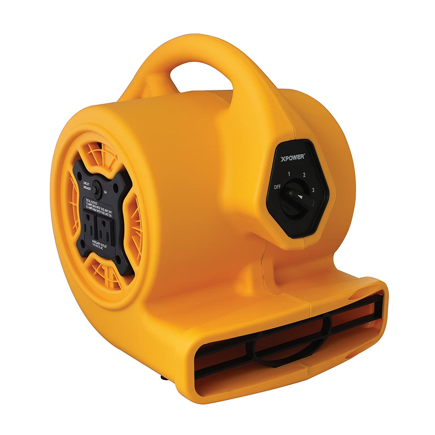 XPOWER P-130A Mini Air Mover, Floor Fan, Dryer, Utility Blower with Built-In Dual Outlets for Daisy Chain, 1/5 HP, 700 CFM, 3 Speeds, Yellow