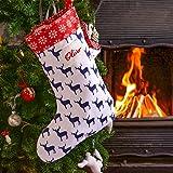 Izabela Peters Personalised Christmas Stocking - Large, Navy Stag - Designed, Printed & Handmade in the UK