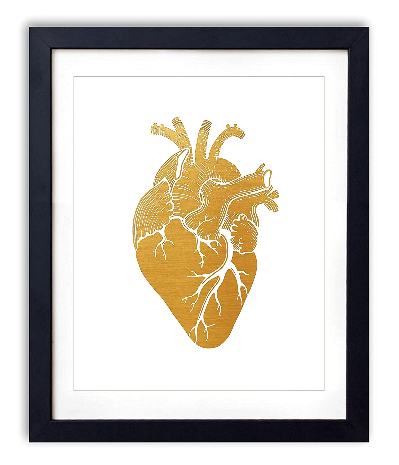 Gold Foil - Anatomical Heart Upcycled Wall Art Vintage Dictionary Art Print 8x10 inches / 20.32 x 25.4 cm Unframed