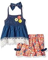 Little Lass Baby Girls' 2 Pc Smocked Denim Short Set