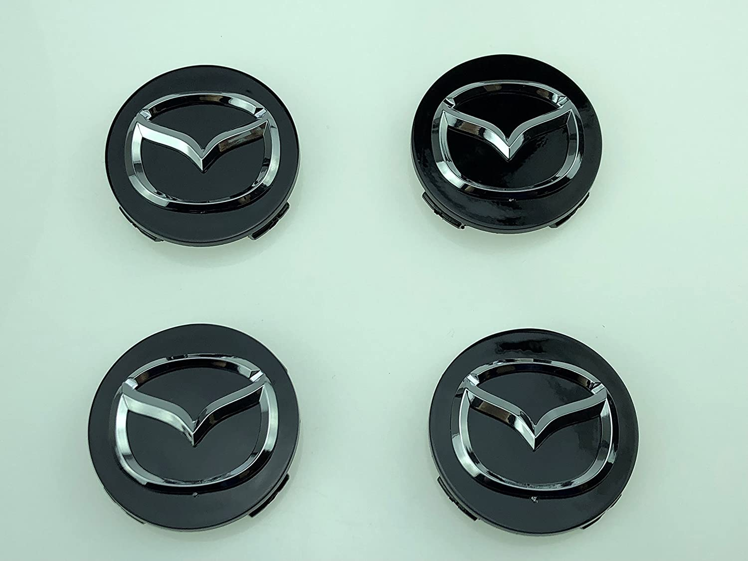 AOWIFT x4 Wheel Center BADGE Caps HUB 56mm MAZDA 2 3 6 CX-3 CX-5 MX-5 BLACK CHROME LOGO