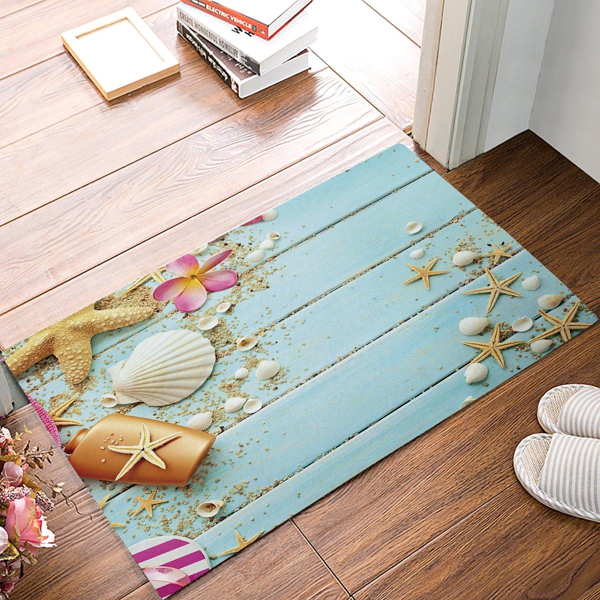 HomeCreator 32 x 20 Inch Beach Theme -Starfish Seashell On The Wood Door Mats Kitchen Floor Bath Entryway Rug Mat Absorbent Indoor Bathroom Decor Doormats Rubber Non Slip