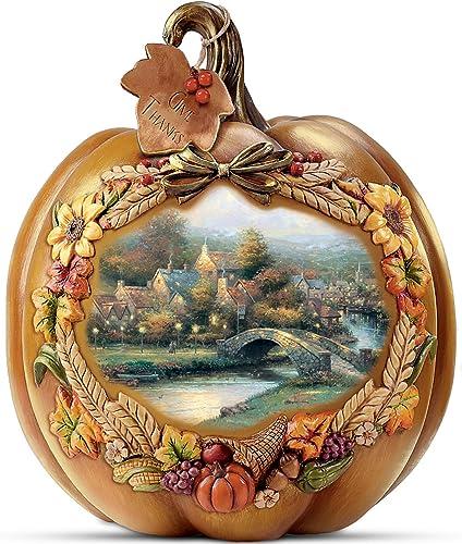 The Bradford Exchange Thomas Kinkade Give Thanks Illuminated Pumpkin Table Centerpiece