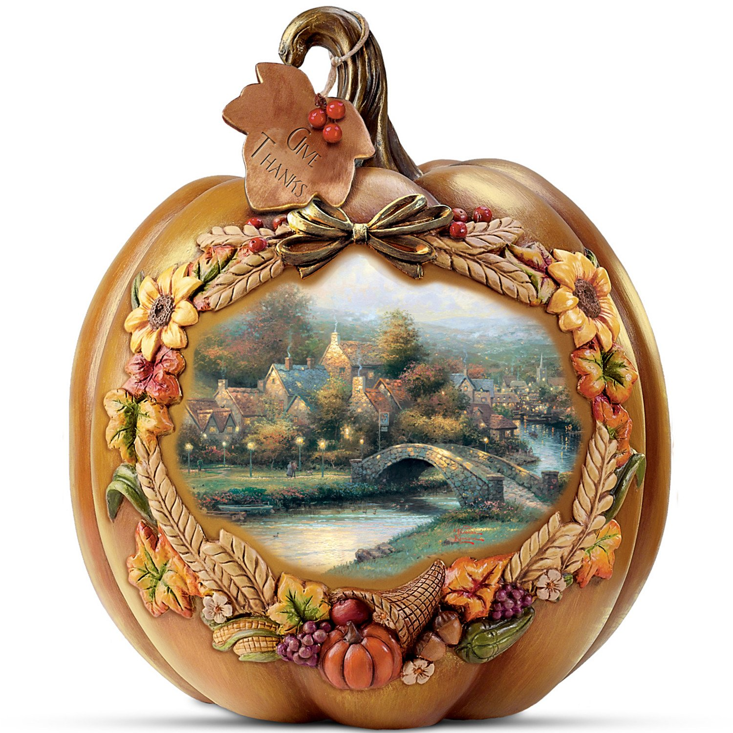 Thomas Kinkade Thanksgiving Give Thanks Illuminated Tabletop Pumpkin Display 8