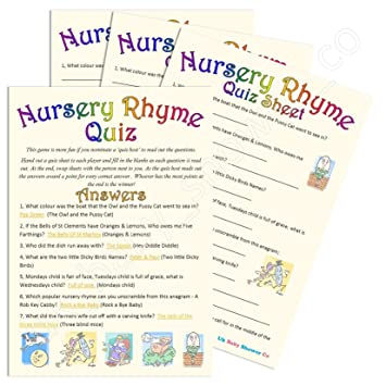 Baby Shower Game Nursery Rhyme Quiz 10 Guest Pack Amazon Co Uk