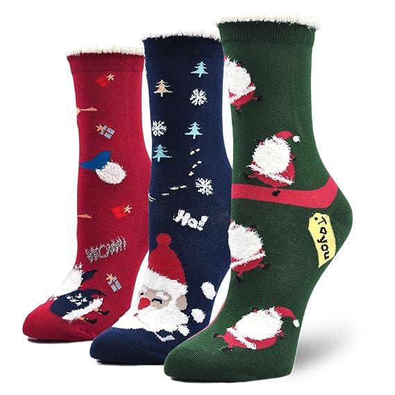 Calcetines de muñeco de nieve/ Aguinaldo Calcetín de Navidad para Mujer Invierno Algodón Calcetines Espesar