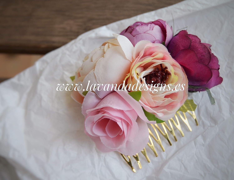 Tocado peineta flores rosas