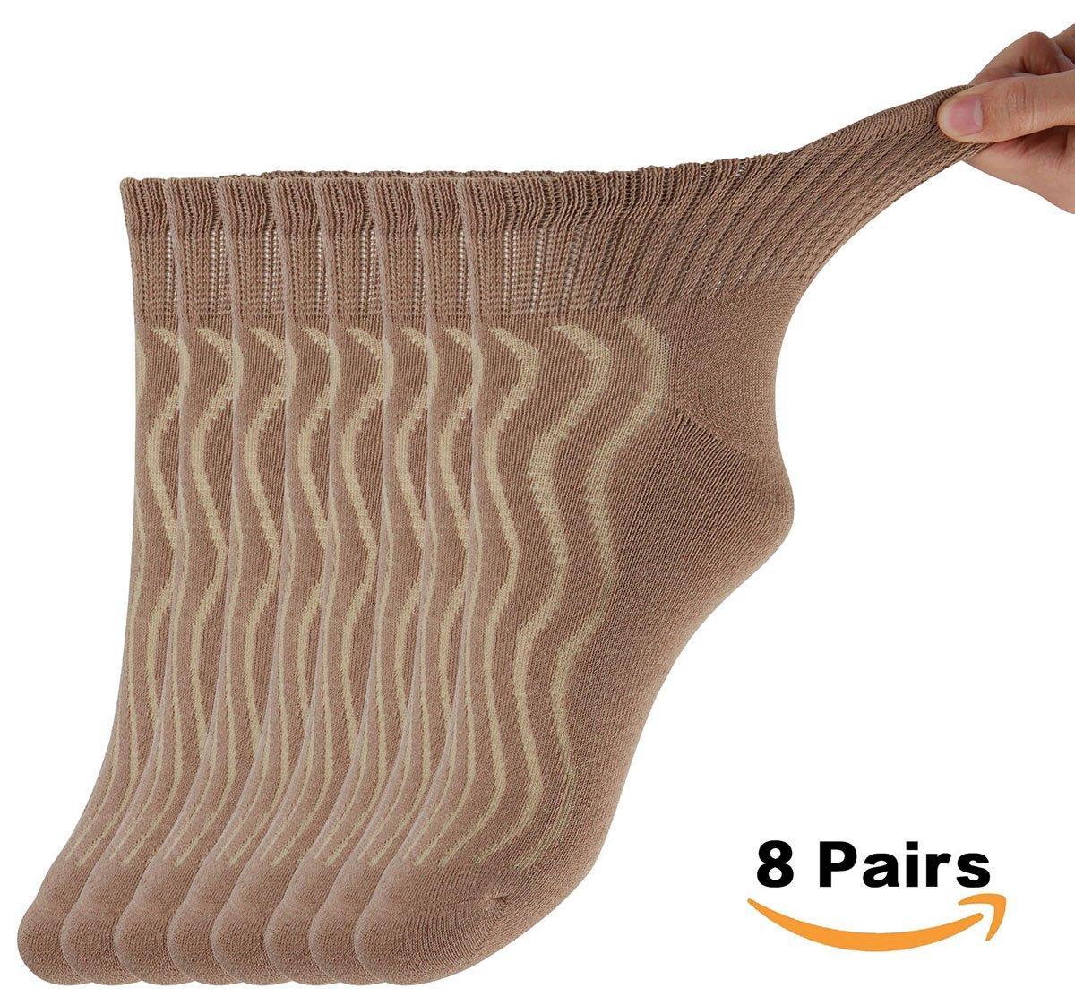 MD Unisex Diabetic Socks Half Cushion Breathable and Antibacterial Cotton Socks Quarter Length 8 Pack 10-13 Brown