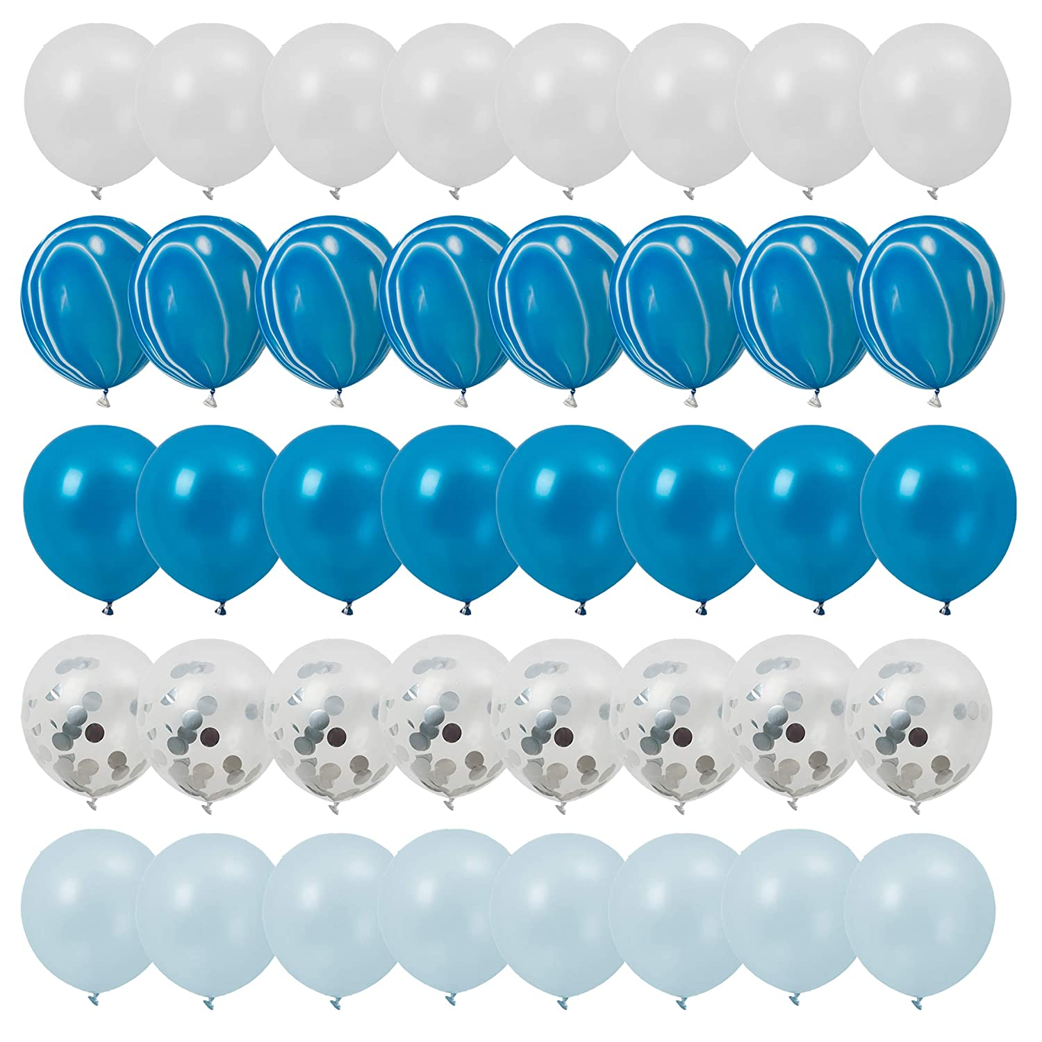 Latex Confetti Balloons,20 Pcs Blue and Sliver Biodegradable Balloon for Party Wedding Decoration Superate