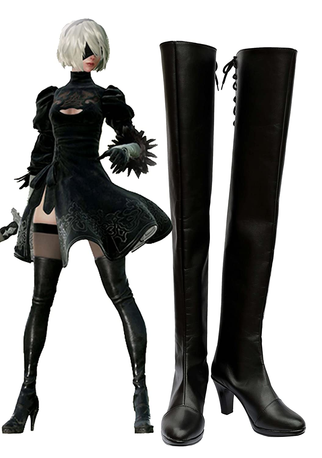 NieR: Automata 2B Boots Cosplay Shoes Boots Custom Made 12 B(M) US Female