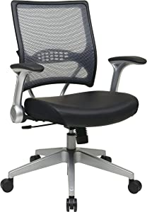 SPACE Seating AirGrid Light Back and Padded Black Eco Leather Seat, 2-to-1 Synchro Tilt Control, Flip Arms, Pneumatic Seat Height Adjustment and Platinum Finished Nylon Base Managers Chair