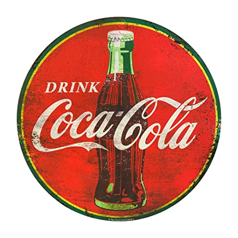 Amazon.com: Coca Cola - Cartel redondo de metal rojo de 40 ...