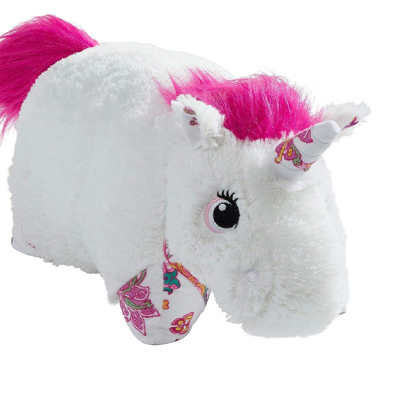 """Pillow Pets Colorful White Unicorn - 18"""" Stuffed Animal Plush Toy"""
